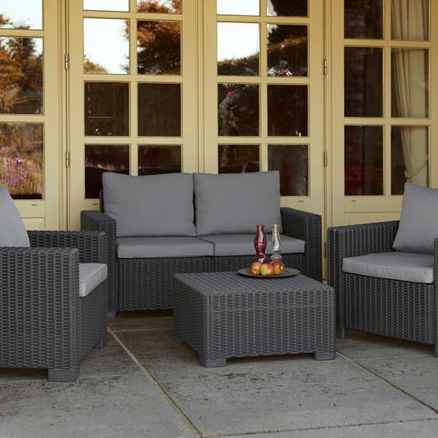 Allibert California Lounge Set Graphit Dreisitzer-Sofa