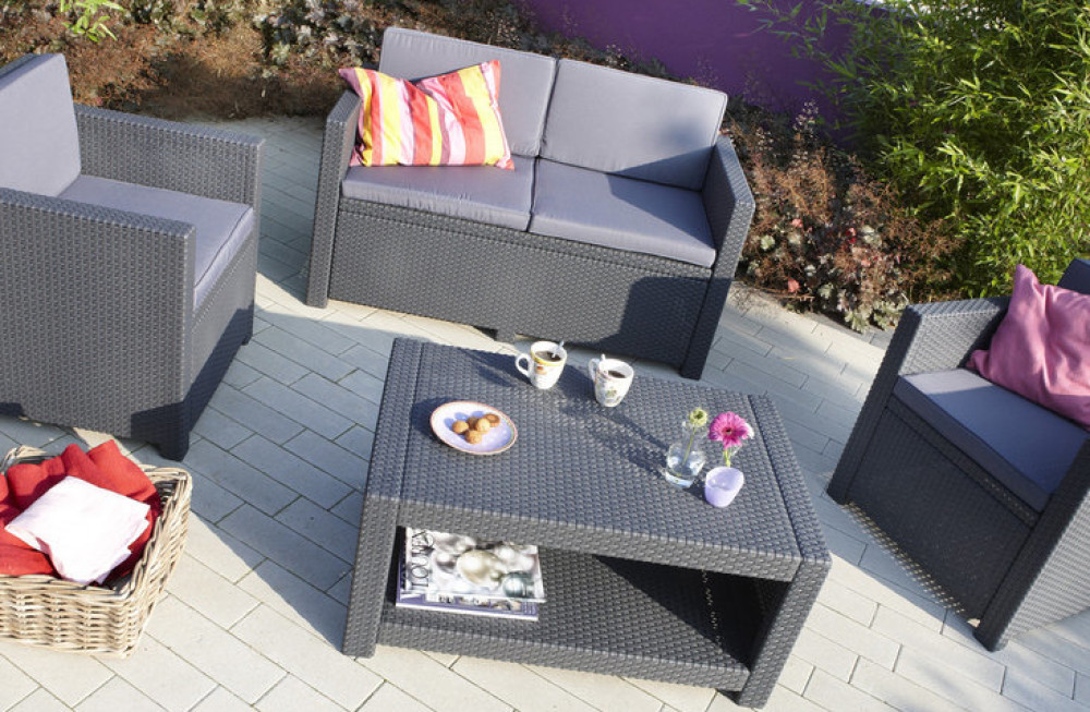 Allibert monaco lounge set graphite allibert - Salon de jardin allibert hawaii lounge set ...