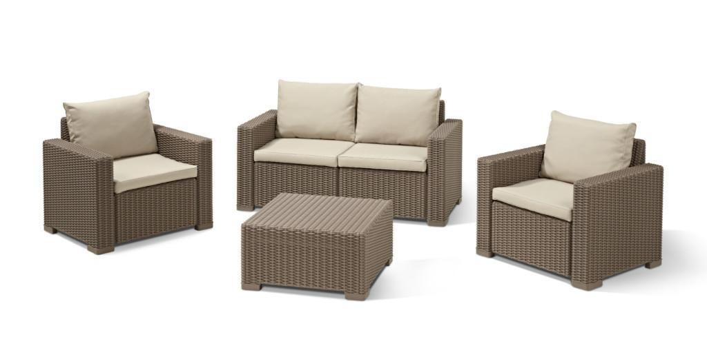 Allibert california lounge set cappuccino zweisitzer sofa - Table de salon longue ...
