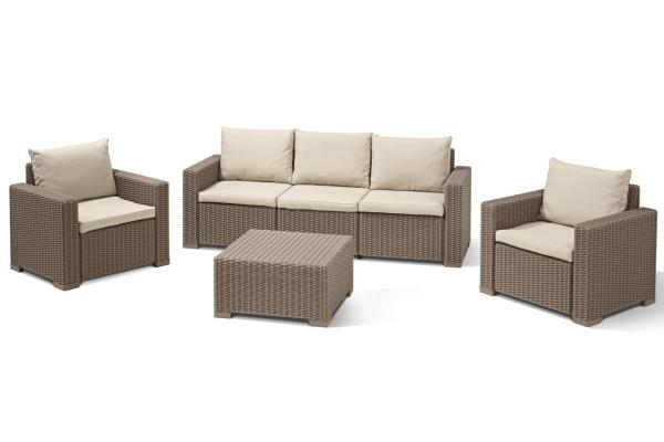 California Lounge Set Cappuccino Dreisitzer-Sofa