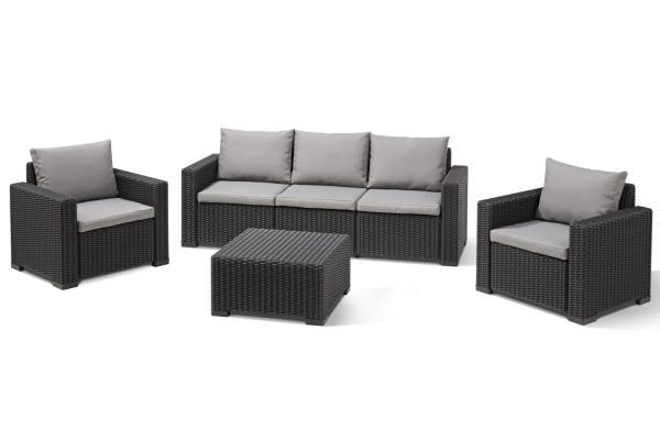 California Lounge Set Graphit Dreisitzer-Sofa