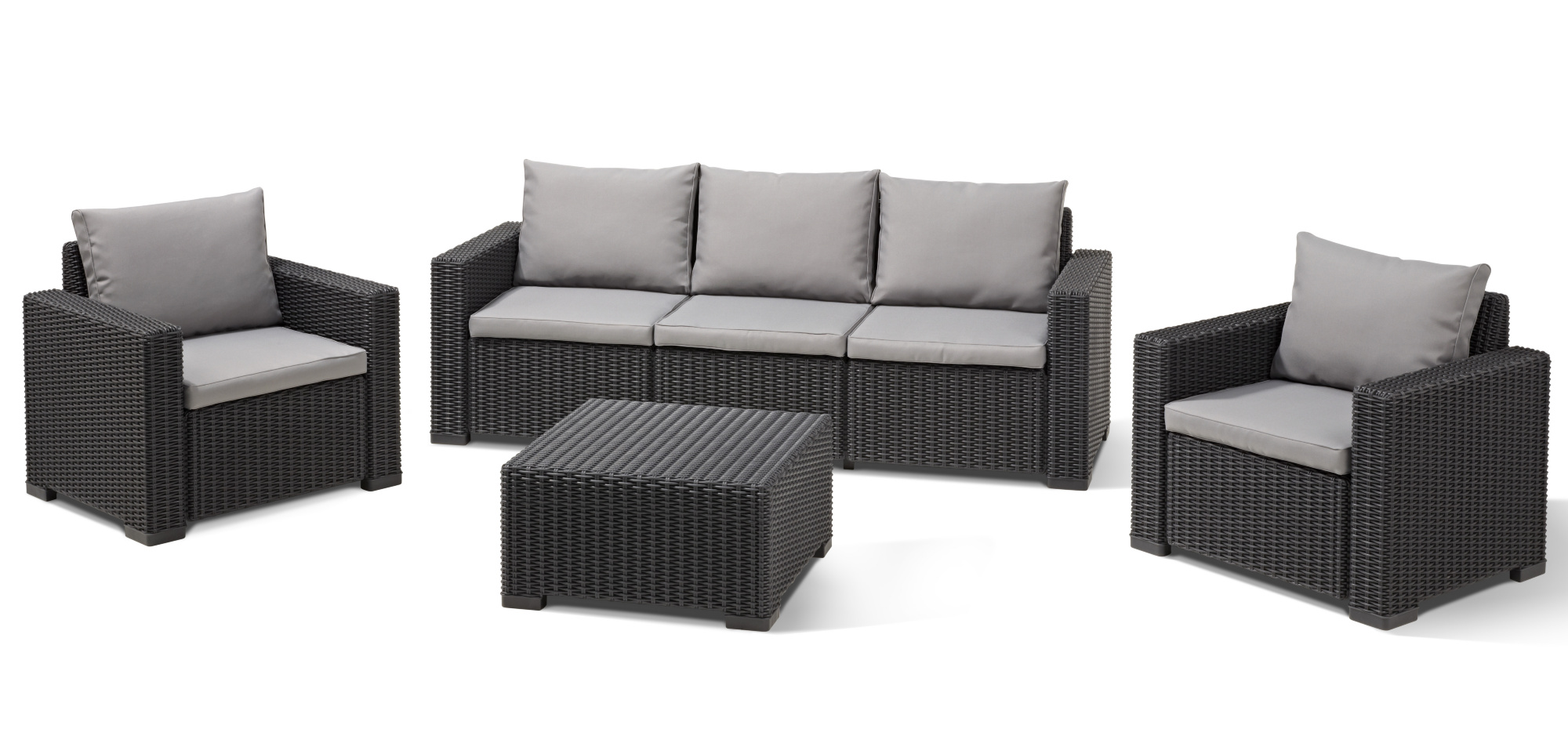 Allibert california lounge set graphite three seater for Ensemble table et chaise rotin
