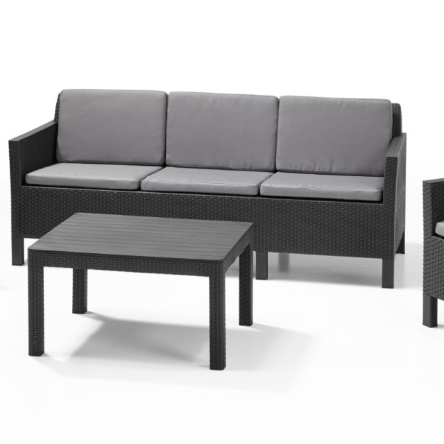 Allibert Chicago Lounge Set Graphit Dreisitzer-Sofa