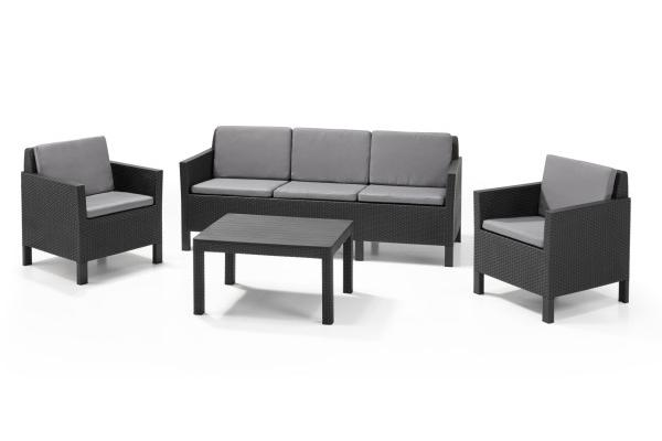 Chicago Lounge Set Graphit Dreisitzer-Sofa