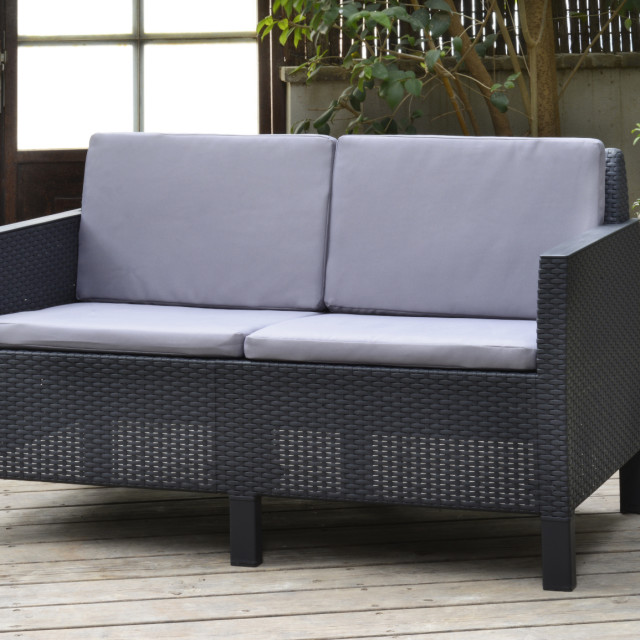 Allibert Chicago Lounge Set Graphit Zweisitzer-Sofa