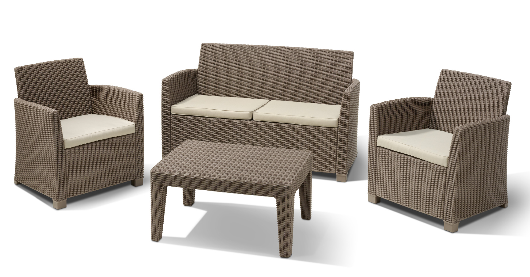 Allibert corona ensemble de salon cappuccino allibert - Salon de jardin allibert hawaii lounge set ...