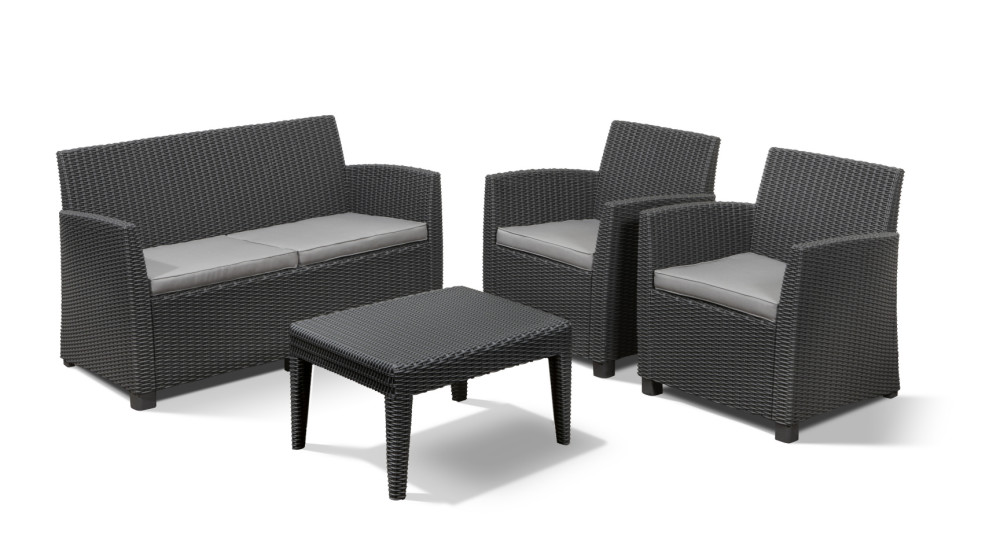 Allibert corona ensemble de salon graphite allibert - Salon de jardin allibert hawaii lounge set ...