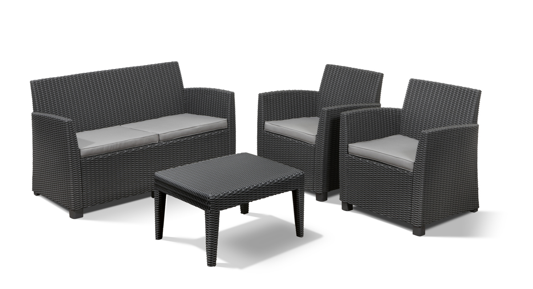 Allibert corona lounge set graphite allibert - Salon de jardin allibert hawaii lounge set ...