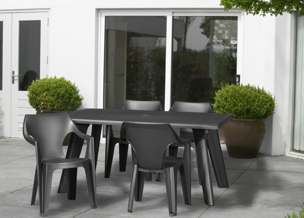 Allibert dante table de jardin graphite allibert - Meuble de jardin allibert ...