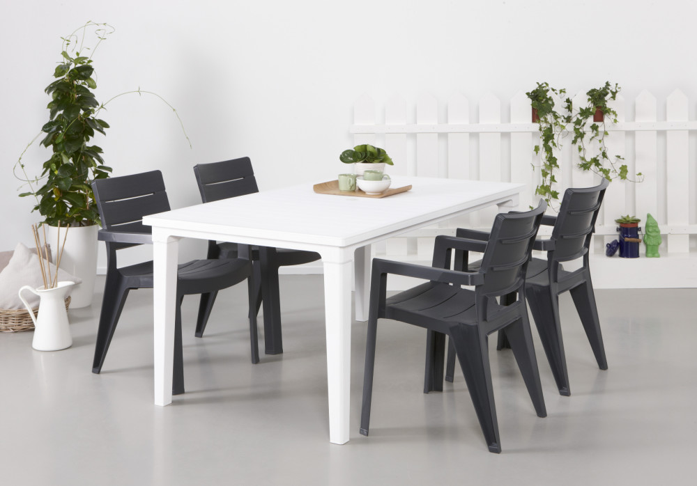 allibert futura table de jardin blanche allibert. Black Bedroom Furniture Sets. Home Design Ideas