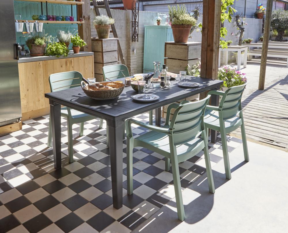 allibert futura garden table graphite allibert. Black Bedroom Furniture Sets. Home Design Ideas