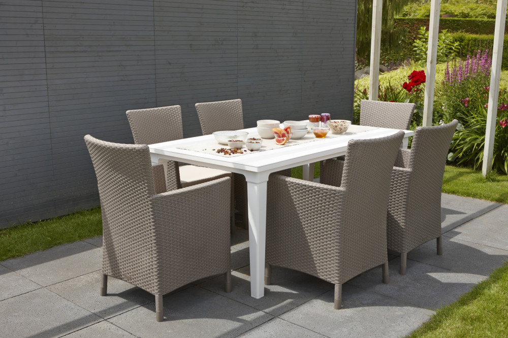 ALLIBERT Futura table de jardin blanche - Allibert