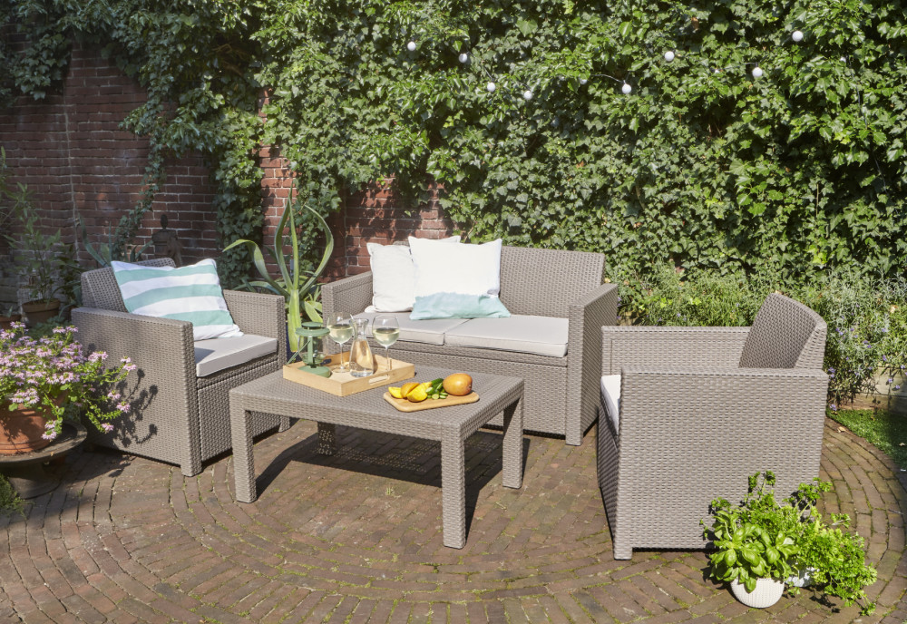 Allibert merano lounge set cappuccino allibert for Meubles de jardin belgique