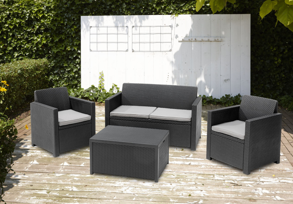 allibert merano lounge set graphit allibert. Black Bedroom Furniture Sets. Home Design Ideas