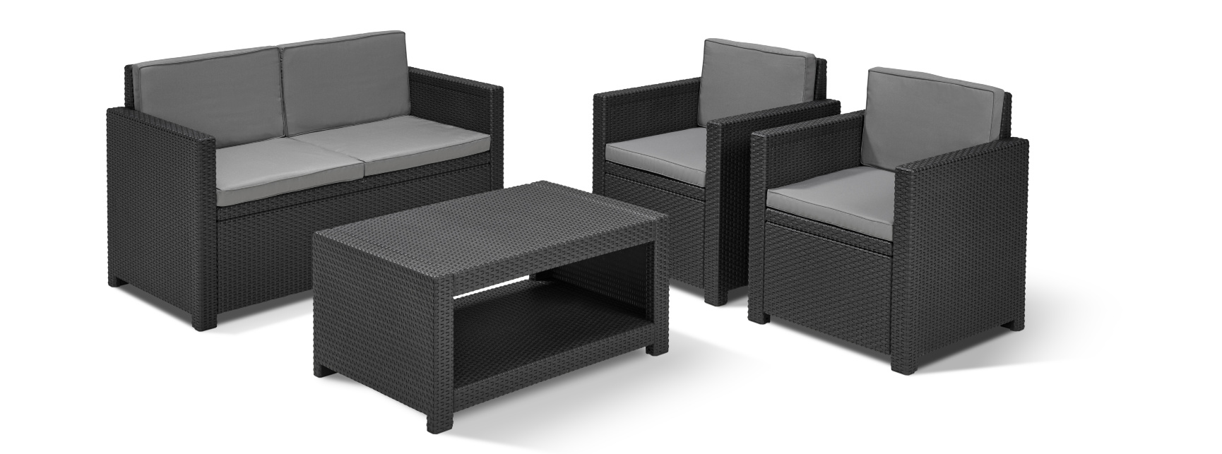 allibert monaco loungeset grafiet allibert. Black Bedroom Furniture Sets. Home Design Ideas