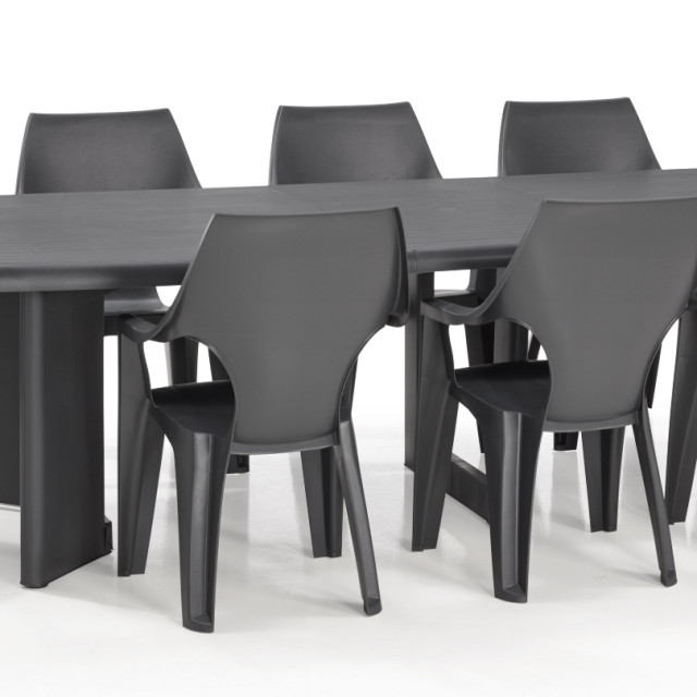 allibert dante table de jardin graphite allibert. Black Bedroom Furniture Sets. Home Design Ideas