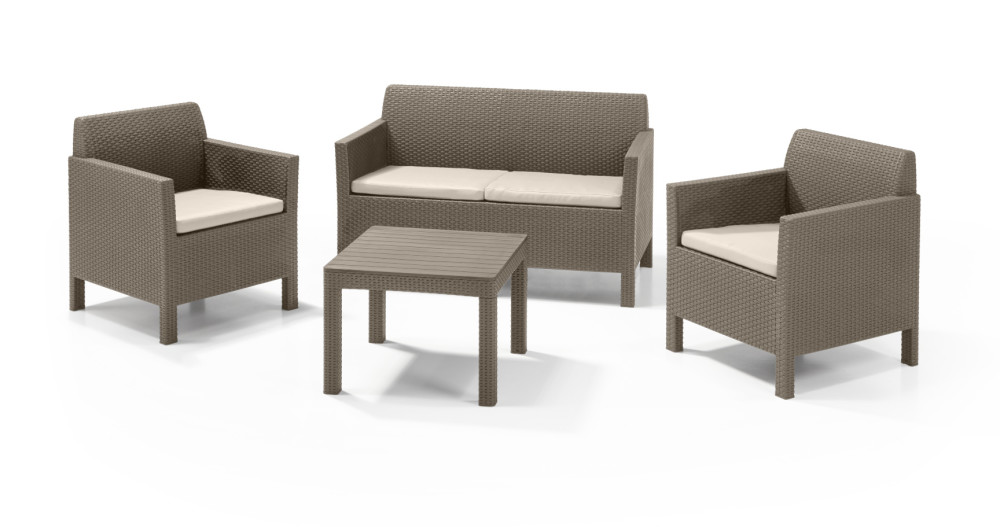 ALLIBERT Orlando Lounge Set Cappuccino Zweisitzer-Sofa - Allibert