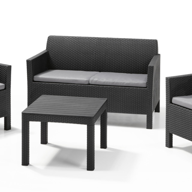 Allibert Orlando Lounge Set Graphit Zweisitzer-Sofa