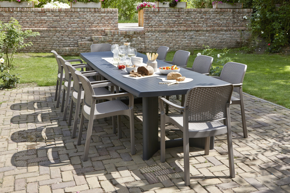 Allibert new york 320 table de jardin graphite allibert for Jardin new york