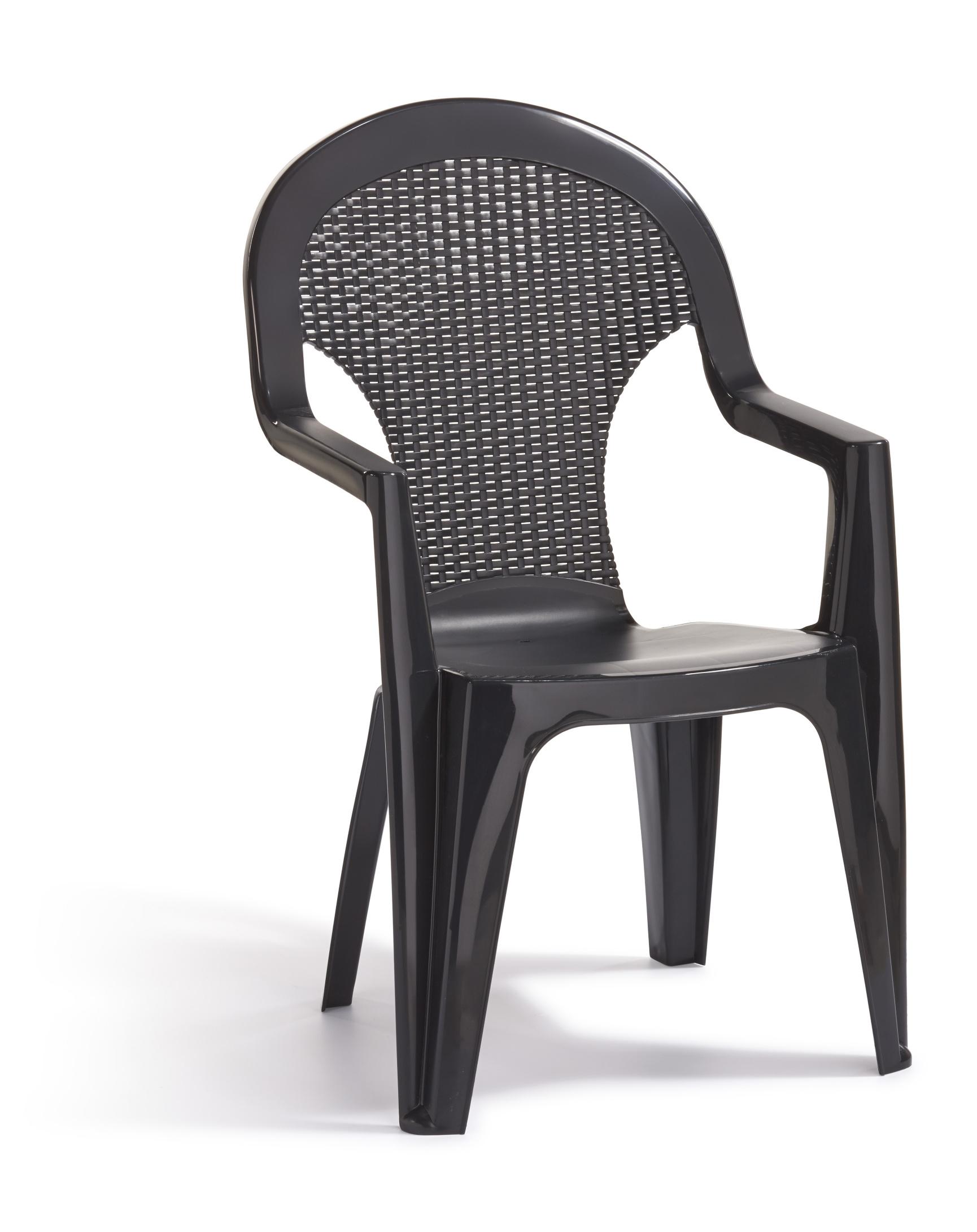 allibert santana chaise empilable graphite allibert. Black Bedroom Furniture Sets. Home Design Ideas