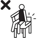 dont sit on armrest UITGESNEDEN
