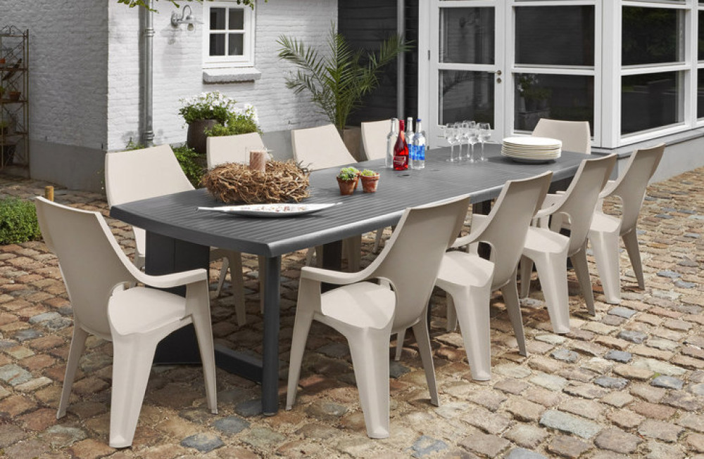ALLIBERT New York 260 table de jardin graphite - Allibert