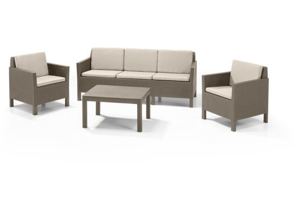 Chicago Lounge Set Cappuccino Dreisitzer-Sofa