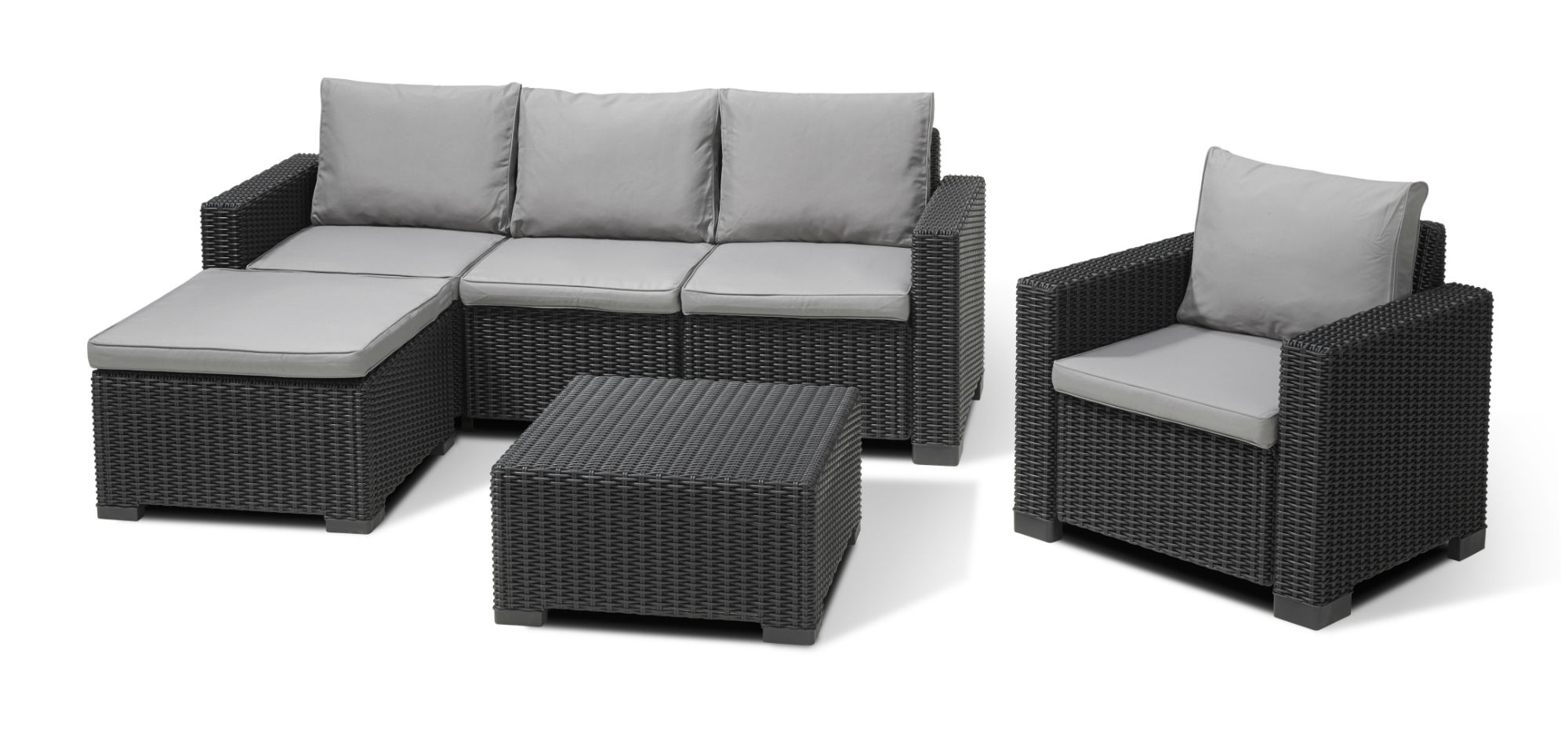 Allibert moorea ensemble de salon graphite allibert for Salon de jardin lounge