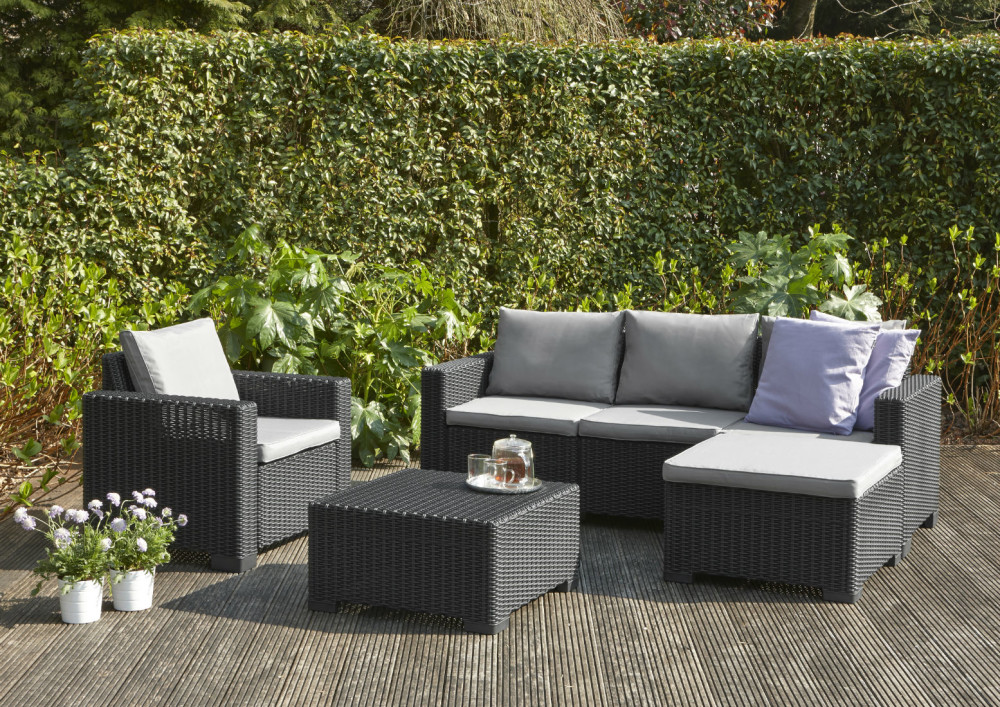 Allibert moorea lounge set graphite allibert for Patio lounge sets