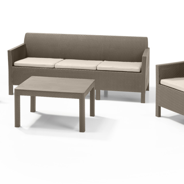 Allibert Orlando Lounge Set Cappuccino Dreisitzer-Sofa