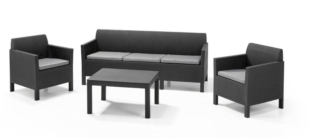 Allibert orlando lounge set graphite three seater allibert - Salon de jardin allibert alabama lounge set ...