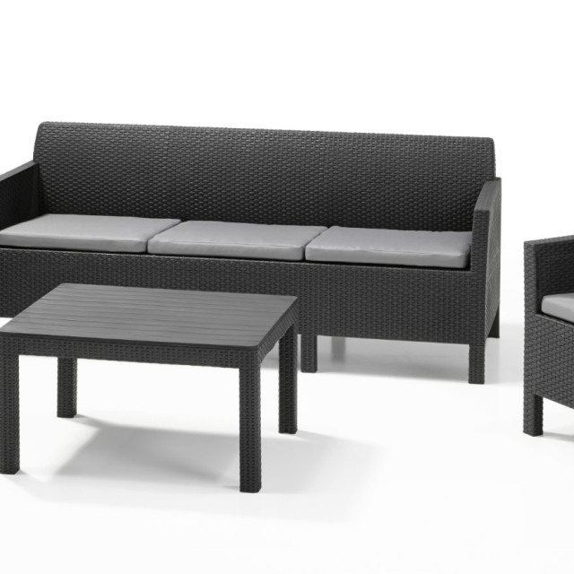 Allibert Orlando Lounge Set Graphit Dreisitzer-Sofa