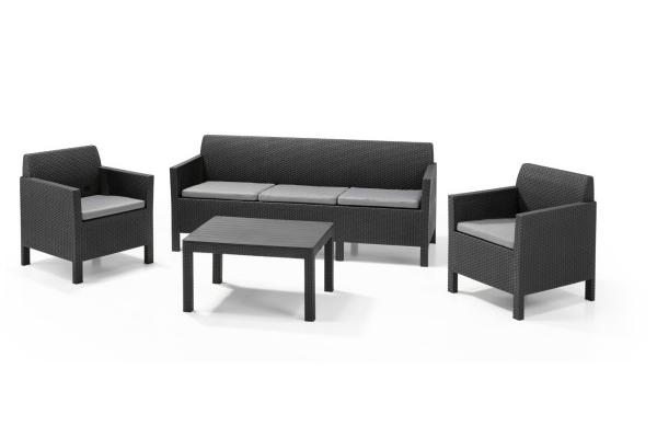 Orlando Lounge Set Graphit Dreisitzer-Sofa