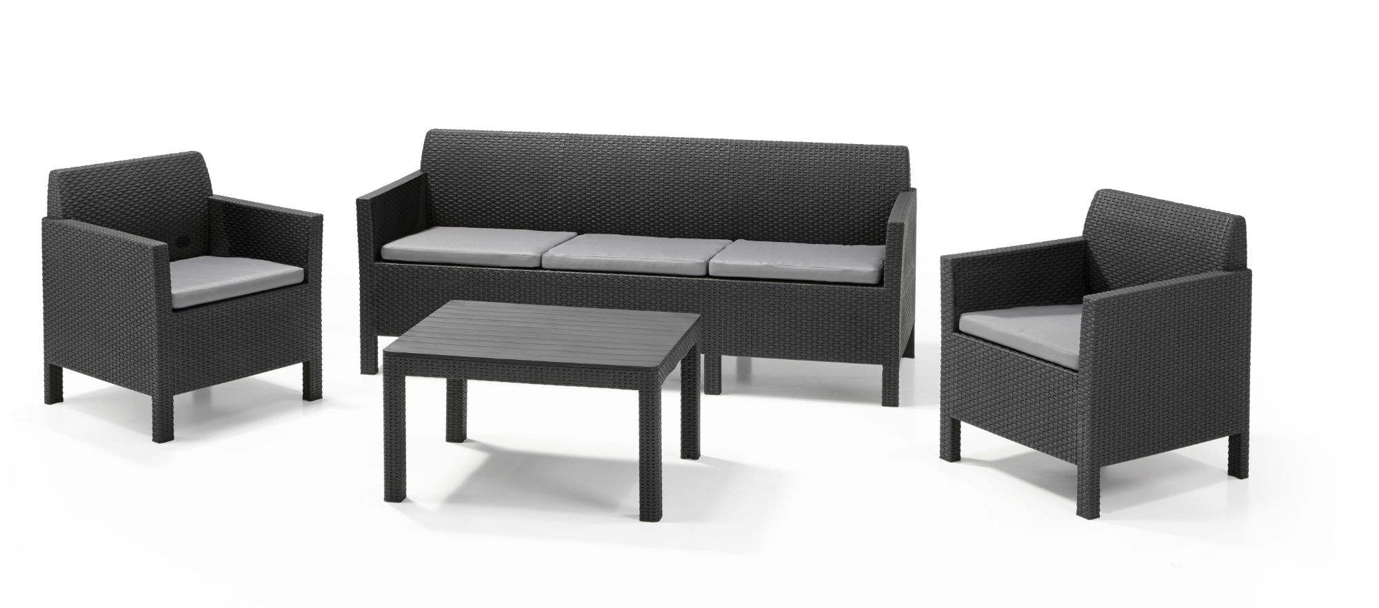 Allibert orlando ensemble de salon graphite canap trois - Salon de jardin allibert hawaii lounge set ...