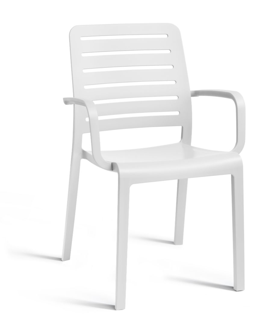 Allibert charlotte country chair with armrests white allibert - Chaise de jardin solide ...