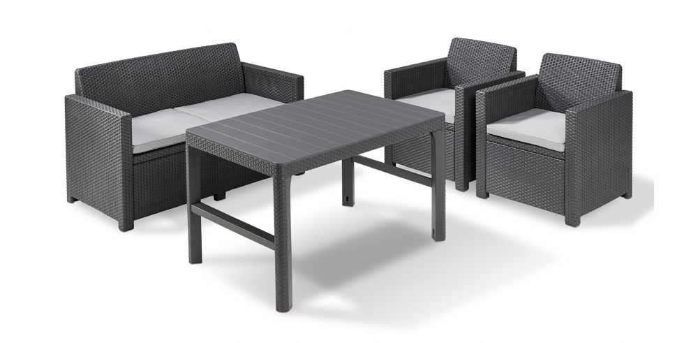 ALLIBERT Merano Lounge Set Graphit mit tisch Lyon - Allibert