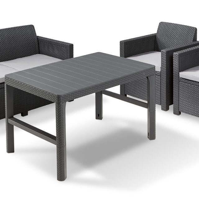 Allibert Merano Lounge Set Graphit mit tisch Lyon