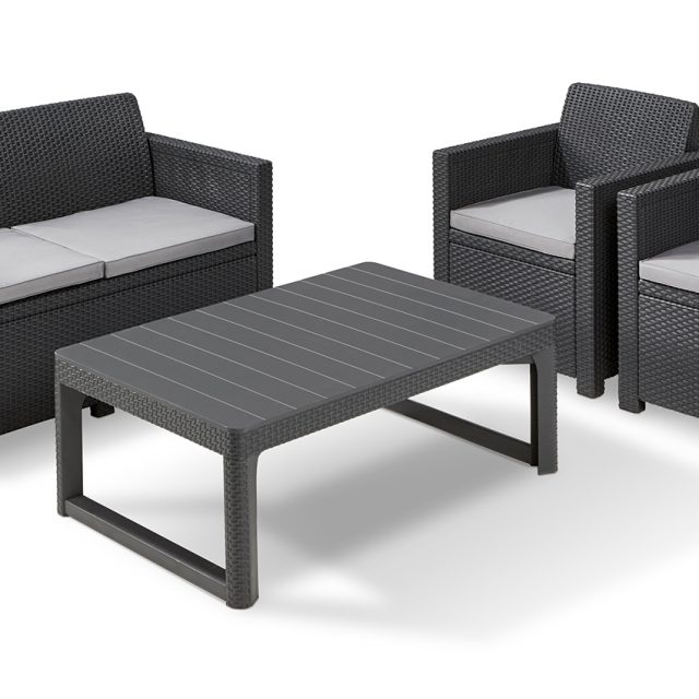 allibert merano lounge set graphite with lyon table allibert. Black Bedroom Furniture Sets. Home Design Ideas