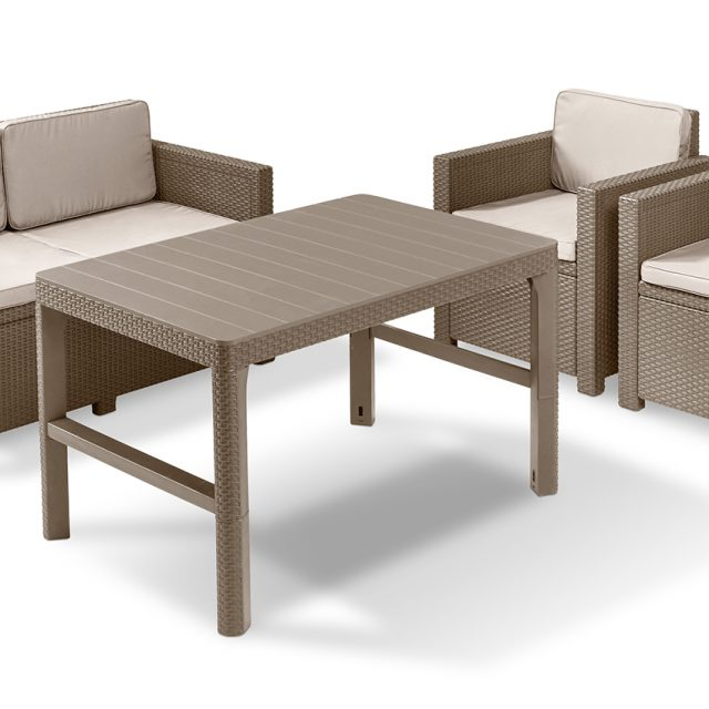 Allibert Monaco lounge set cappuccino with Lyon table