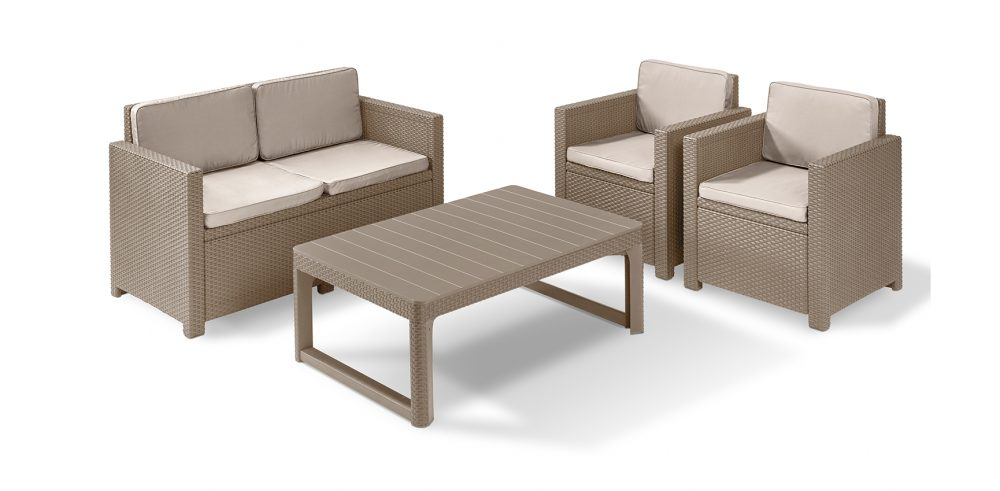 allibert monaco lounge set cappuccino mit tisch lyon. Black Bedroom Furniture Sets. Home Design Ideas