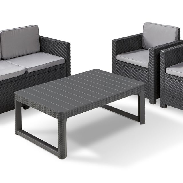 Allibert Monaco lounge set graphite with Lyon table