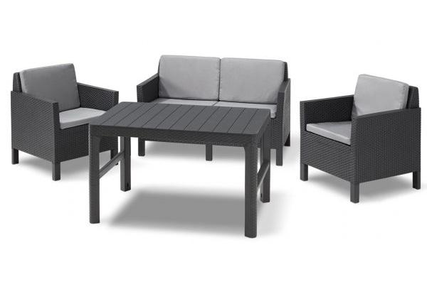 Chicago lounge set graphite two seater with Lyon table