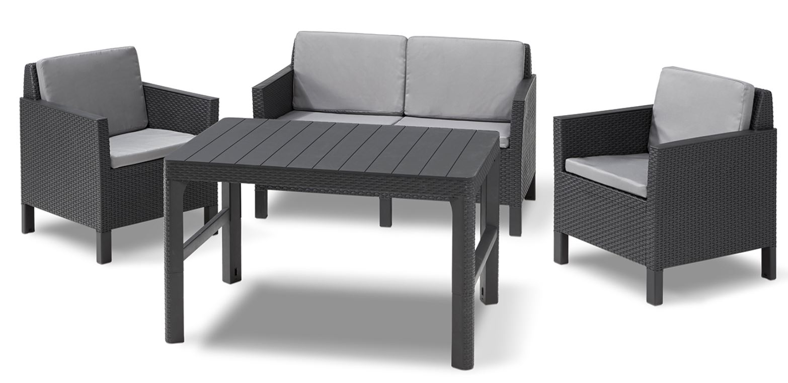 allibert chicago lounge set graphit zweisitzer sofa mit tisch lyon allibert. Black Bedroom Furniture Sets. Home Design Ideas