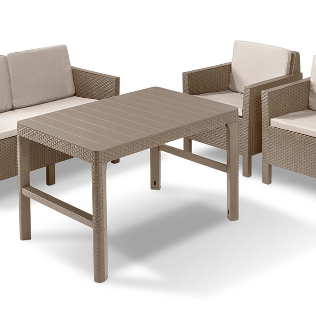Allibert Chicago lounge set cappuccino two seater with Lyon table