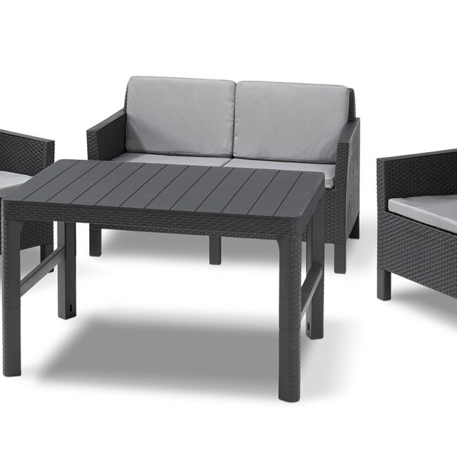 Allibert Chicago lounge set graphite two seater with Lyon table