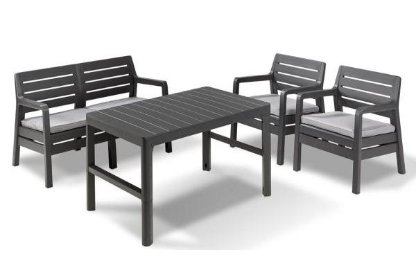 Delano lounge set graphite two seater with Lyon table