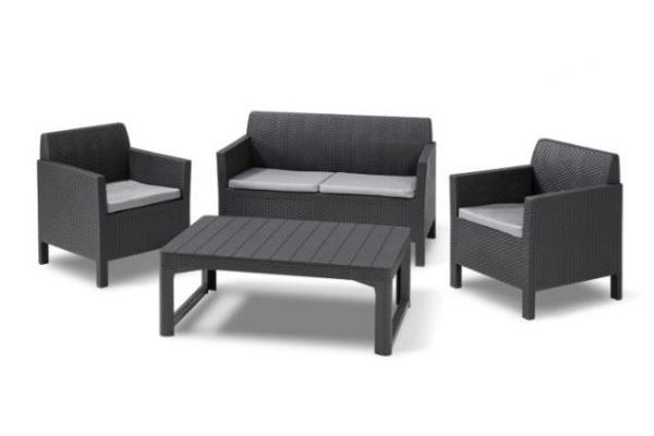 Orlando lounge set graphite two seater with Lyon table