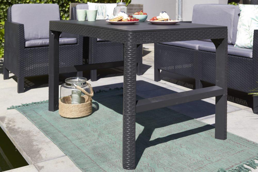 Allibert lyon table graphite en osier plat allibert for Table exterieur osier