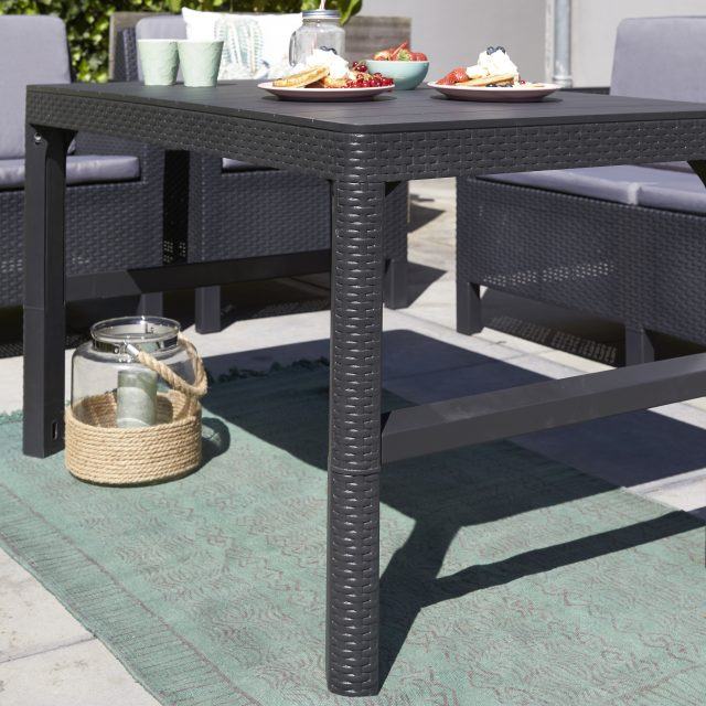 Allibert Lyon tafel grafiet met plat wicker