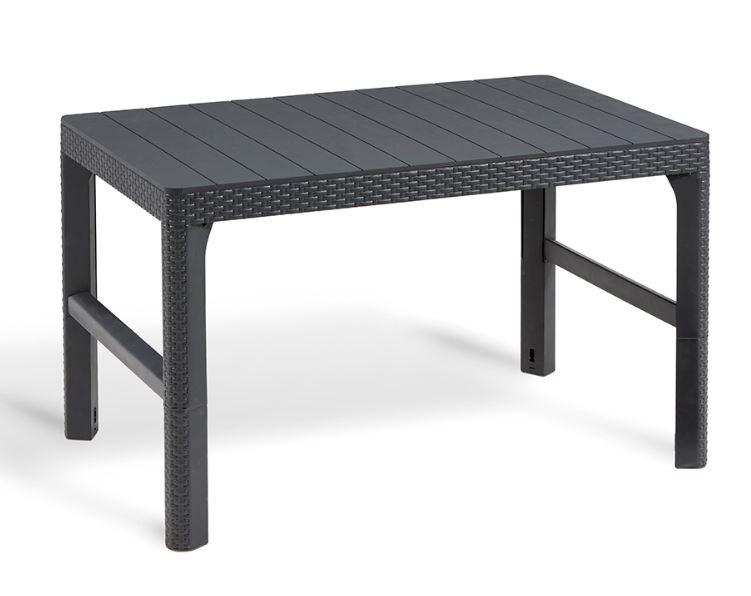 Allibert lyon table graphite with flat wicker allibert - Table jardin oogarden lyon ...